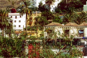Ansicht von idyllischen Ferienwohnungen auf der Insel La Gomera, zwischen Palmen und vielen Blumen.