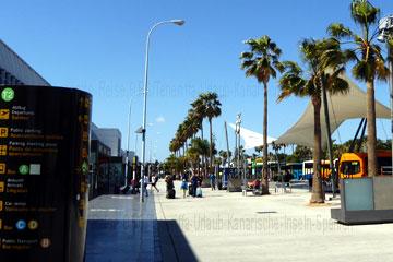 Dieses Foto zeigt die Bushaltestellen und die Busse für die Weiterreise vor dem Terminal bei der Ankunft nach der Landung oder dem Abflug auf dem Flughafen Teneriffa-Süd aus, dem Flughafen Reina Sofia beim Kanrischen Inseln Urlaub.