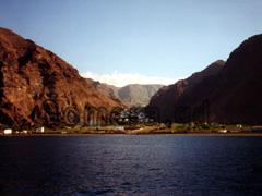 La Gomera, Ansicht des Valle Gran Rey vom Atlantik aus betrachtet.