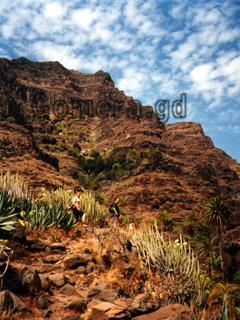 La Gomera, schmaler Bergpfad beim Wandern den Berg hinauf.