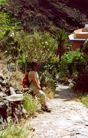 Touristin, die auf der Kanarischen Insel, La Gomera, eine Pause bei einer Wanderung eingelegt hat. Schmaler mit Naturstein gepflasterter Wanderweg in einer Schlucht. Im Hintergrund riesige Kakteen und ein Haus sowie eine Palme.