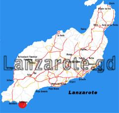Lageplan der Papagayo Strände auf der kanarischen Insel Lanzarote, siehe roter Punkt auf der Karte im Süden der Insel.