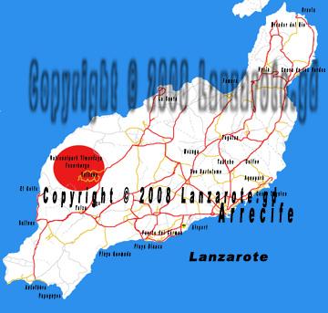 Karte Timanfaya auf Lanzarote