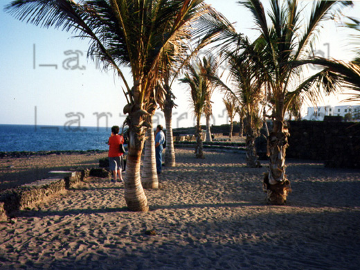 Strand unterhalb der Strandpromenade am Strandabschnitt an der Playa Bastian morgens im Winter nahe der Ferienanlage Los Molinos an der Costa Teguise fotografiert.